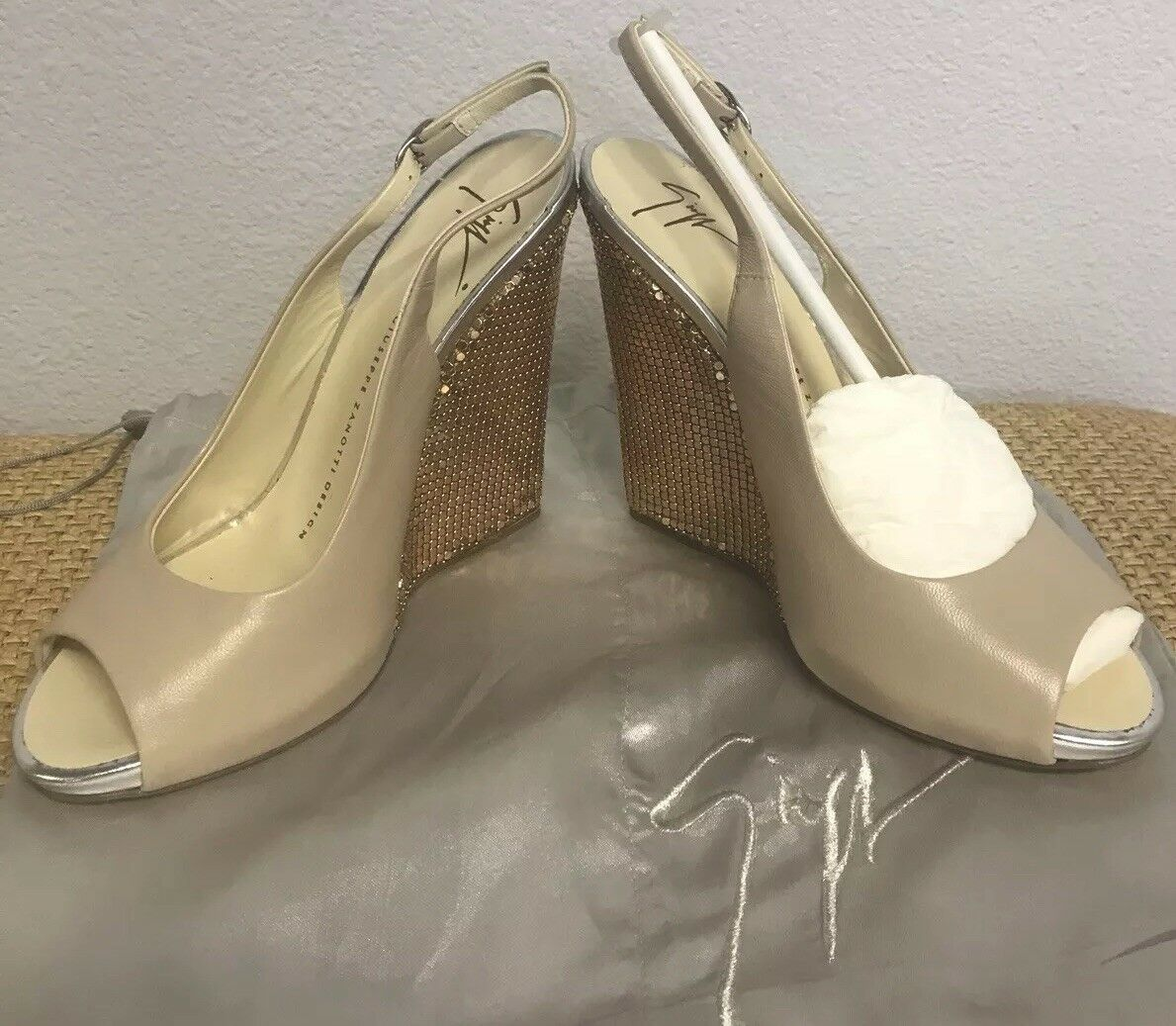 Guiseppe Zanotti pink gold Nude Wedges