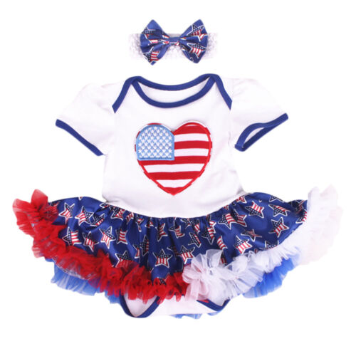 Baby Girl My 1st 4th of July US Flag Romper Tutu Dress Headband Outfit Clothes