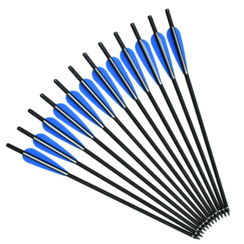 Hunting Crossbow Bolts Carbon Arrows 12pcs Broadheads Archery Target Outdoor