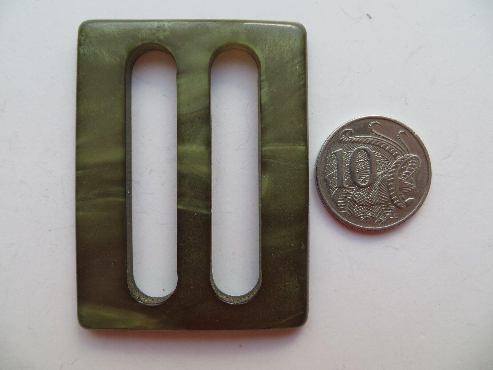 1950s Vintage Med Rectangle Moonglow Olive Green Ladies Belt Buckle-6.2 x 4.7cm
