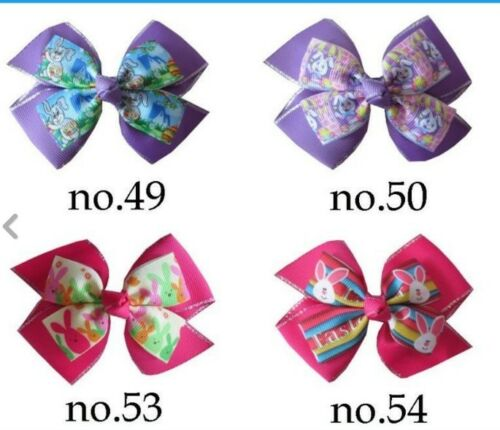 """50 BLESSING Girl 4/"""" Double Easter Hair Bow Clip Accessories Chicken Rabbit"""