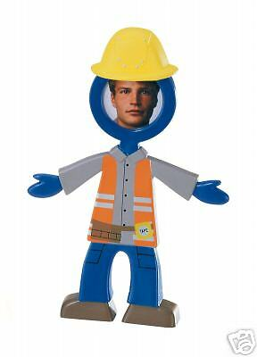 NEW Bendable Rubber People Photo Frame Construction Worker Guy