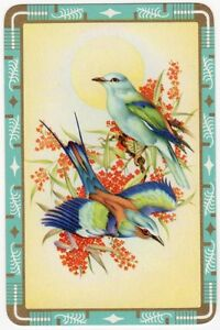Playing-Cards-Single-Card-Old-BLUEBIRDS-FLOWER-BLOSSOM-Birds-Art-Picture-Design