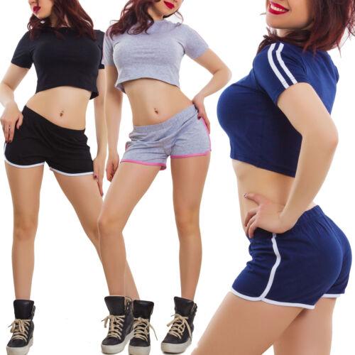 Completo donna sportivo palestra righe top shorts pantaloncini cotone K97011