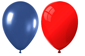 """5 of Each Colour 10/"""" Party Balloons Navy Blue /& Red 25cm"""