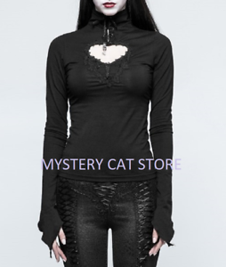 864c9b38e New PUNK RAVE Long Sleeve Gothic Black Lace Embroidery Heart Top T ...