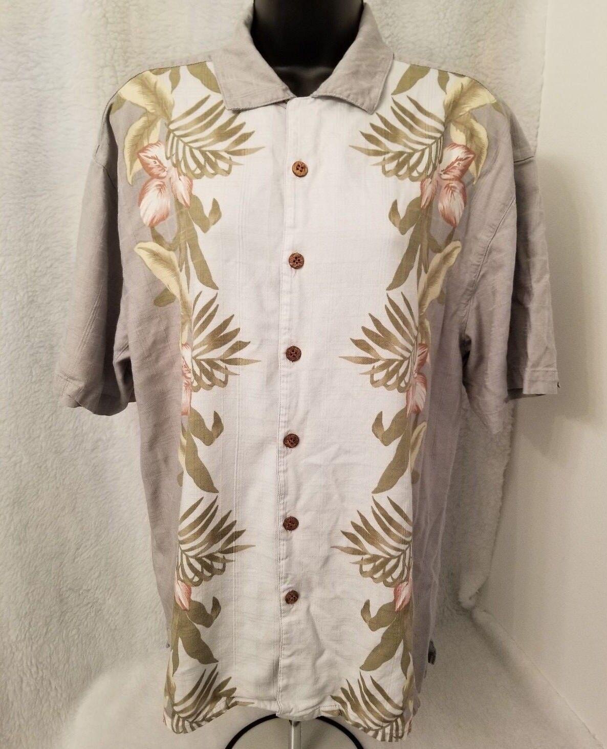 Montage Mens Green Yellow Pink bluee Hawaiian Design Button Down Shirt Size XL