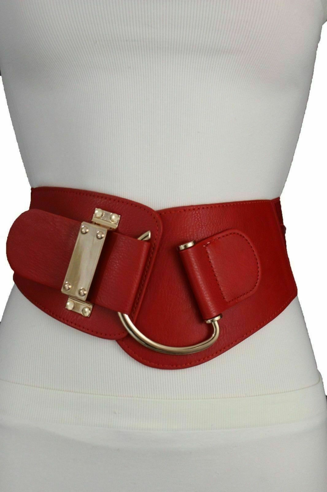 Women Hip High Waist Gold Metal Hook Buckle Red Elastic Waistband Belt L XL 2XL