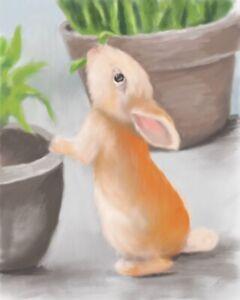 ACEO ATC Art Card Painting Print Signed Bunny Bunnies Rabbit Animals