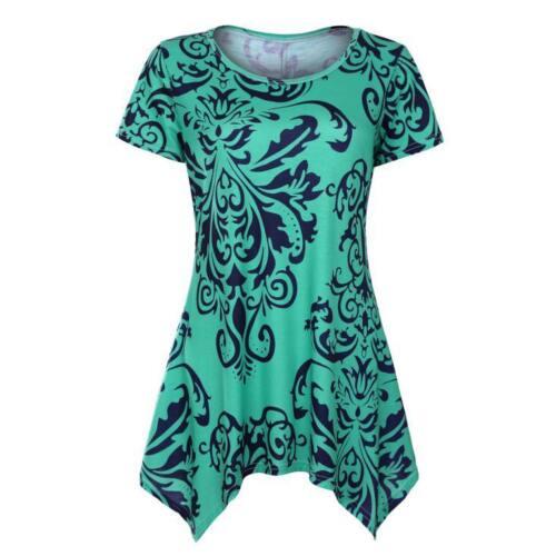 Women Short Sleeve Swing Tunic Top Summer Retro Flare Sleeve Tee Blouse Shirt CA