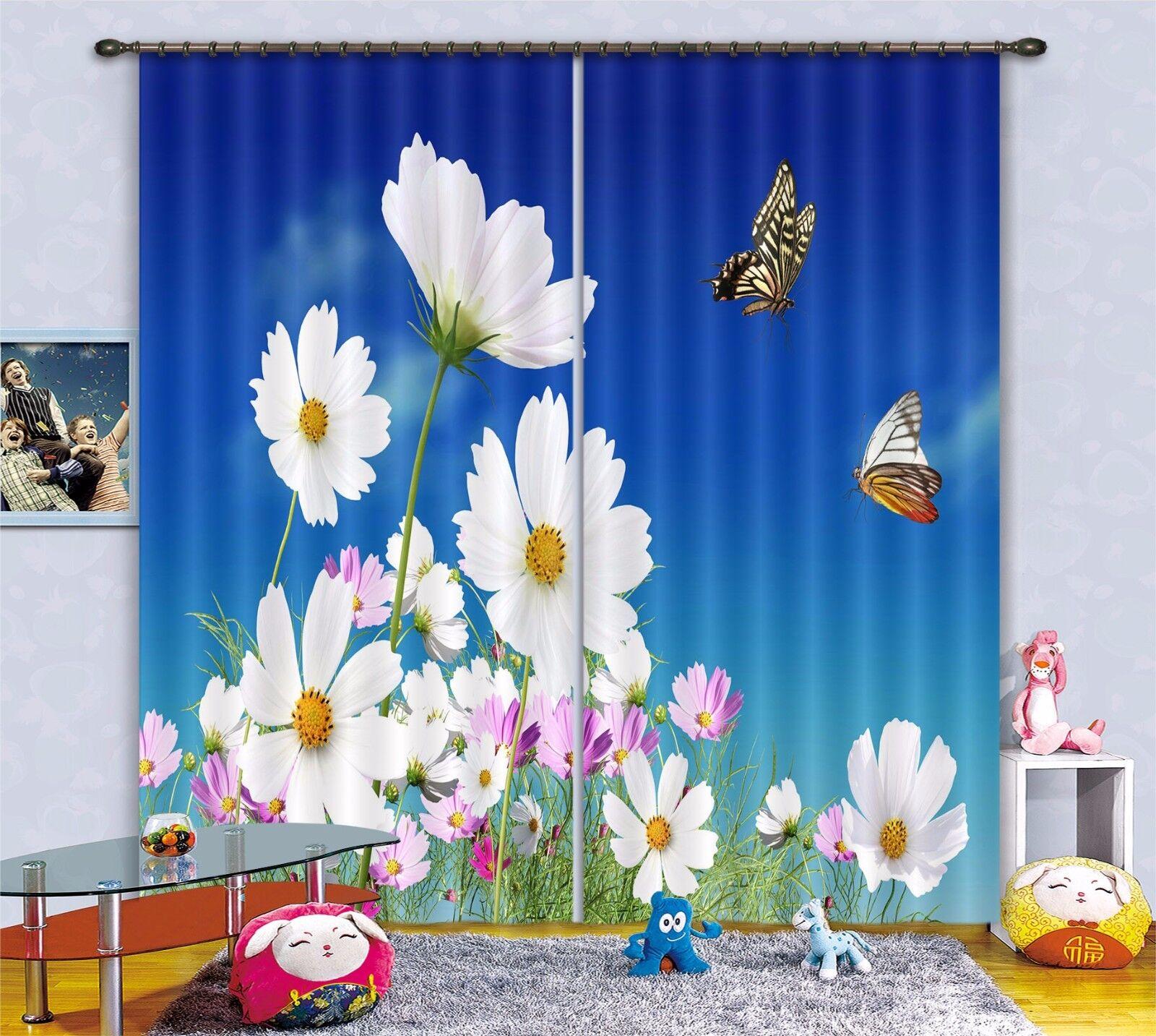 3D Daisy abejas 489 Cortinas de impresión de Cortina Blockout Foto Tela Cortinas Ventana Reino Unido
