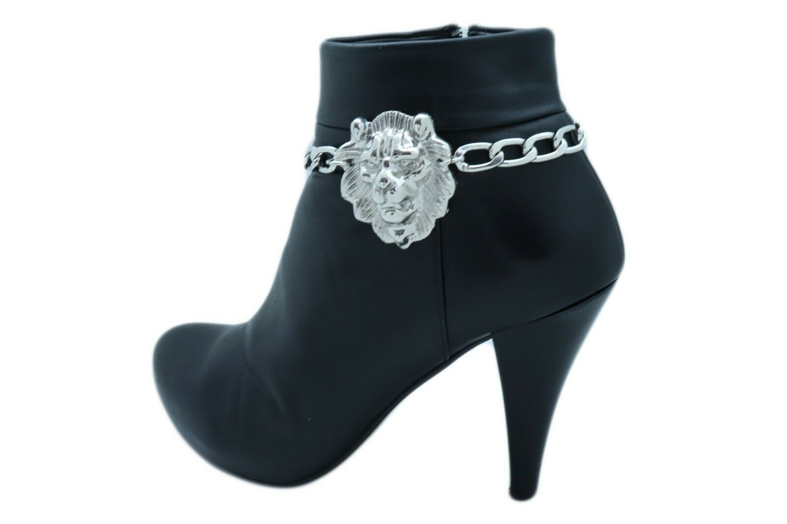 Women Silver Metal Boot Chain Bracelet Anklet Shoe Lion Charm Bling Sexy Jewelry