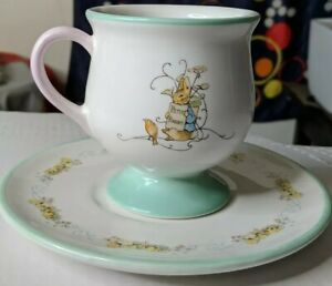 Beatrix Potter Peter Rabbit Footed Tea Cup & Saucer Teleflora gifts 2002