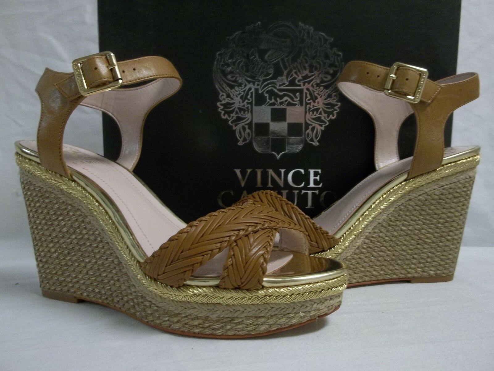Vince Camuto Sz 8.5 M Tadeta Beachwood Leather Open Toe Wedges New Womens Shoes