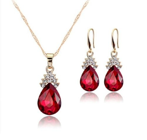 Amarillo Oro Acabado pearcut Ruby /& Collar y pendientes de diamante creado Cluster