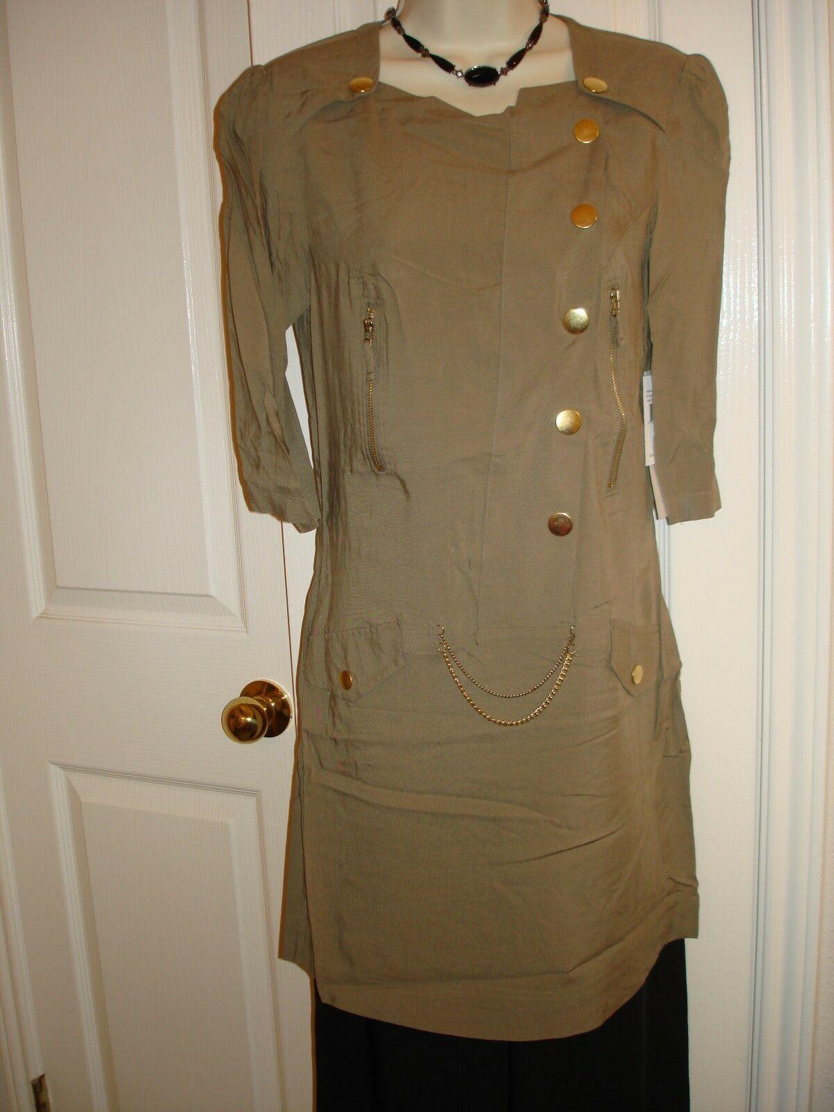 Kensie Three Quarter Sleeve Twill with Hardware Dress. Size  S, M