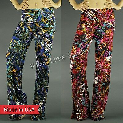 Women Trend Multi Color Abstract Art Print Fold Over Wide Leg Palazzo Pants USA