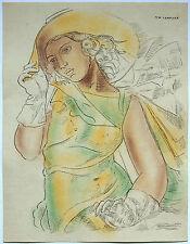 Tamara de Lempicka 'Girl in Green Dress '' handsigned ink & tempura study 1930