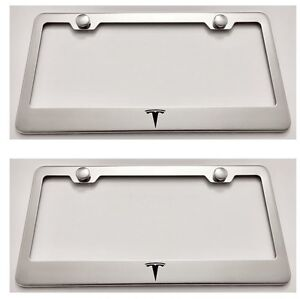 2X TESLA With Logos Stainless Steel License Plate Frame Rust Free W// Caps