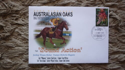 AUSTRALIAN HORSE RACING COVER, 2003 AUSTRALASIAN OAKS, WINNER SOUND ACTION