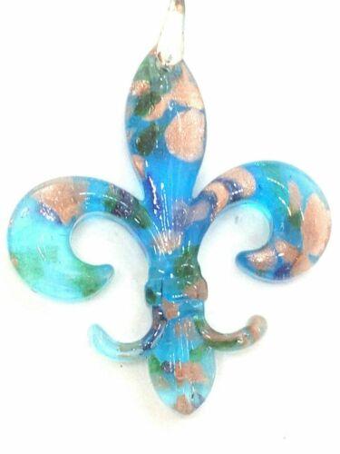 Details about  /Gold Foil Blown Glass Fleur-de-Lis Pendant Necklace on Lacing