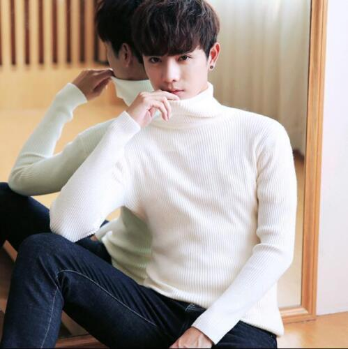 Homme Slim Col Roulé Pullover Tricot Casual Sweater Outwear Col haut Tops T62