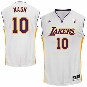 newest 93042 b416d Details about STEVE NASH LOS ANGELES LA LAKERS JERSEY XXL 2XL ADIDAS HOME  WHITE NBA REPLICA