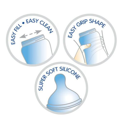 2 Pack Wide Neck Baby Bottle 330ml Easy Fill Clean Soft Teat Grip Free 0 Month
