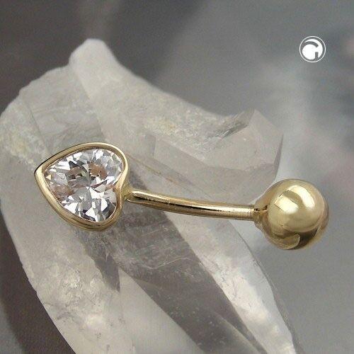 corazón de circonitas Gold piercing señora piercing de auténtica 585 oro dorado