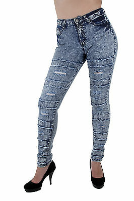 XH9228 - Super High Rise, Acid Wash Stretch Ripped Skinny Jeans