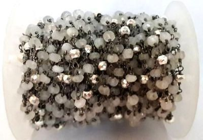 10 Feet Rainbow Moonstone,Gold Pyrite 3-4mm Black Plated Rosary Beaded Chain