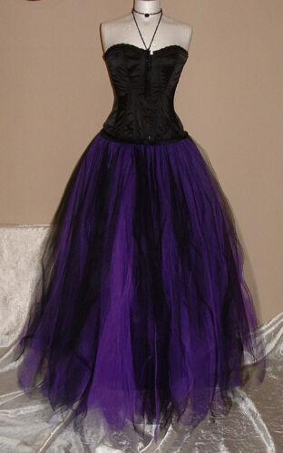 Femme Femmes Violet Noir Tutu Jupe Adulte Tulle Longue Doublée Gothique Mariage Gypsy