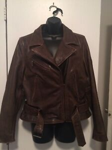 FLYING-BIKES-Oakwood-Bomber-Motorcycle-Leather-Jacket-Brown-Biker-Ladies-LG