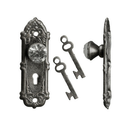 Cristal Opryland manijas de las puertas en Negro Con Llaves Casa De Muñecas Miniaturas