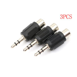 3xNickel-3-5mm-1-8-034-Stereo-Male-Plug-To-RCA-Female-Jack-Audio-Adapter-Conve-FZ