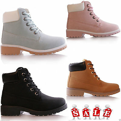 KIDS GIRLS GRIP SOLE COMBAT SUMMER LACE UP ANKLE HI TOP BOOTS TRAINERS SHOES NEW