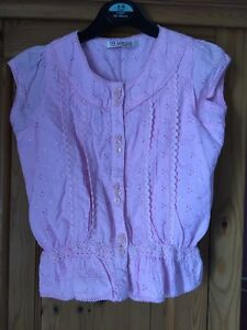Lovely-Pink-Girls-Cotton-Capped-Sleeve-Top-From-George-Age-5-6-Years