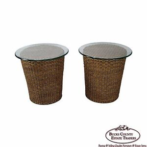 Fabulous Woven Wicker Wrapped Round Glass Top Cylinder End Tables Ebay Home Interior And Landscaping Eliaenasavecom