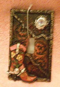 Praying cowboy black triple light switch plate cover