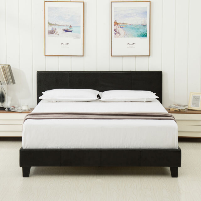 Queen Leather Platform Bed Frame Upholstered Headboard and Memory Mattress