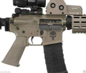 3 - AR15 Lower Decals | Punisher AR-15 Gun MAG 5.56 Magazine Stickers (Gray)