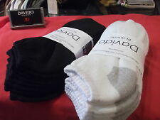 8 pairs davido Mens socks ankle 100% cotton made in Italy black and white 9-11