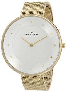 Skagen-Women-039-s-Klassik-Analog-Stainless-Steel-Mesh-Gold-Dress-Watch-SKW2141
