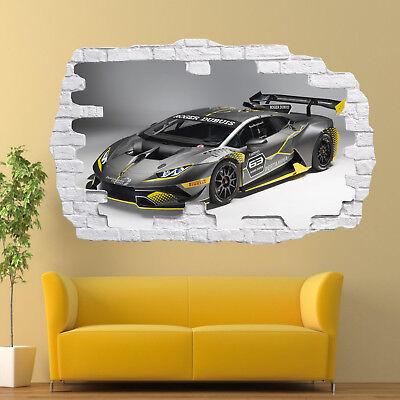 RACING CAR LAMBORGHINI WALL STICKERS 3D ART MURAL POSTER OFFICE HOME DECOR TS2