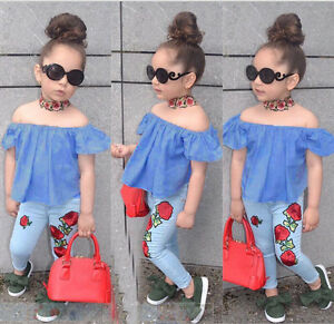 Details about Kids Baby Girl Outfit Sets Shirt T-shirt Tops+Long Pants  Jeans Clothes US STOCK