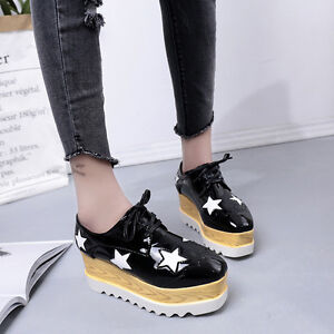 casual women's lace shoes star platform creepers leather