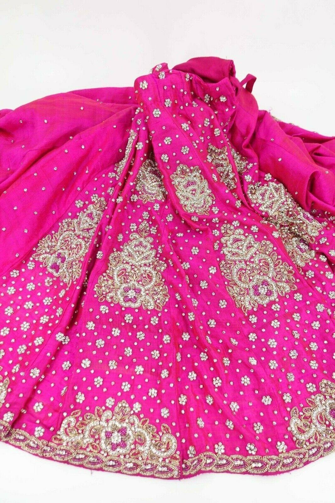 Pink raw silk short heavy Indian short bollywood Lengha choli skirt SKU17548