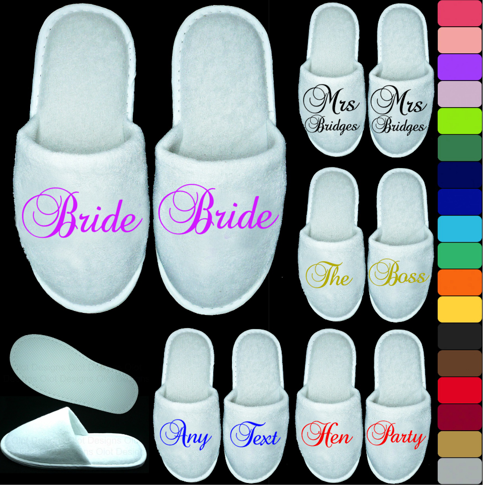 White Wedding Closed Toe Slippers - Personalised Print Novelty Bridal Party Spa