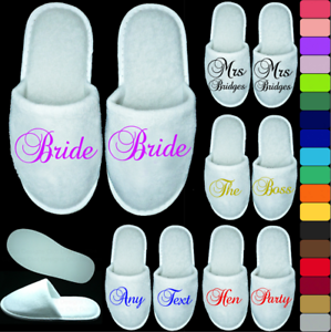 WHITE WEDDING SLIPPERS PERSONALISED PRINT NOVELTY BRIDAL PARTY SPA CLOSED TOE GE
