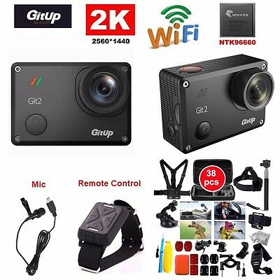 Gitup Git2 Pro 16MP 2K Sports DV Action Camera Mini Camcorder+Mic+Remote Control